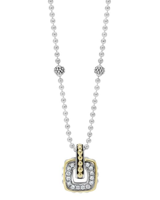 """Lagos   Metallic Sterling Silver Beaded Pendant Necklace With Diamonds And 18k Gold, 16""""   Lyst"""