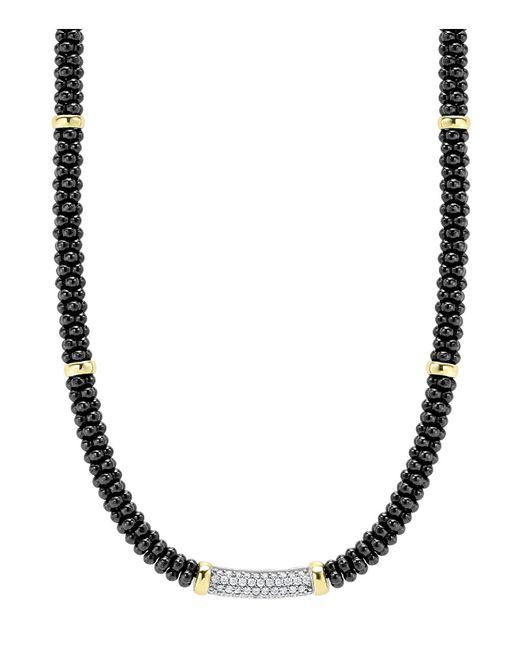Lagos | Metallic Black Caviar Ceramic And Diamond Necklace With 18k Gold Stations, 16"