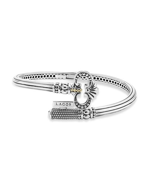Lagos   Metallic Sterling Silver Key Hinged Cuff With 18k Gold   Lyst