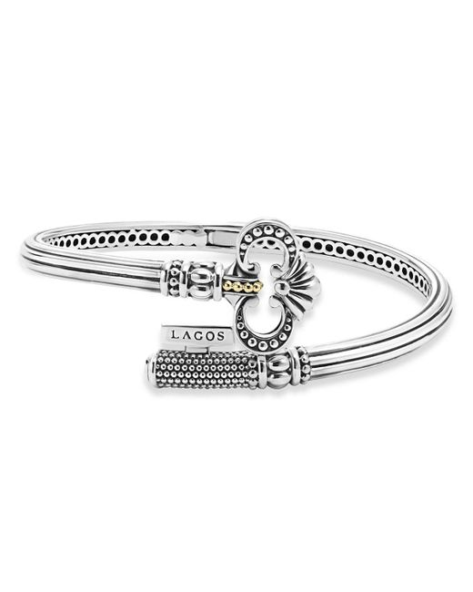 Lagos | Metallic Sterling Silver Key Hinged Cuff With 18k Gold | Lyst