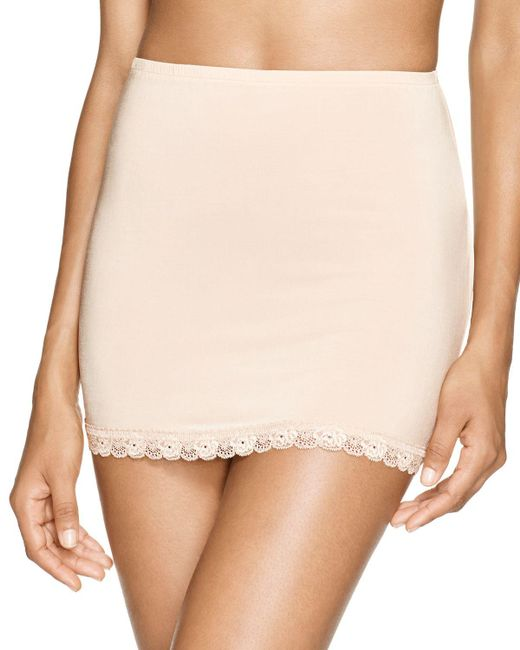 Hanky Panky | Natural Silky Fitted Lace Trim Half Slip | Lyst