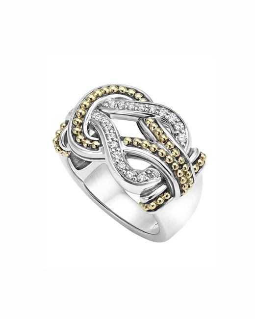 Lagos | Metallic Sterling Silver And 18k Gold Newport Diamond Ring | Lyst