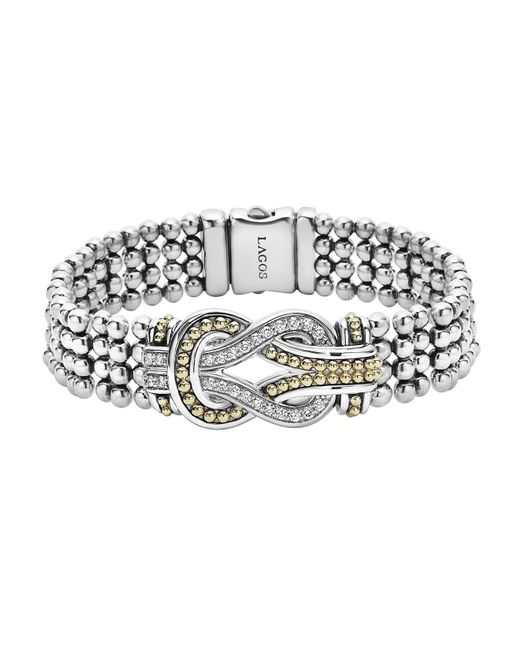Lagos | Metallic Sterling Silver And 18k Gold Newport Diamond Caviar Bracelet | Lyst