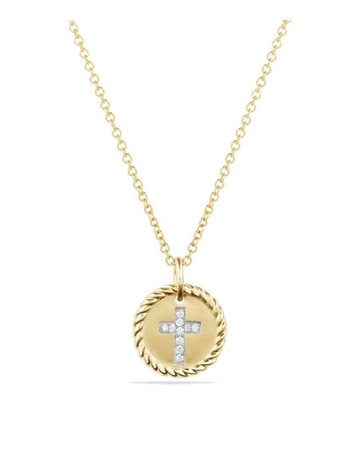 David Yurman | Metallic Cable Collectibles Cross Necklace With Diamonds In 18k Gold | Lyst