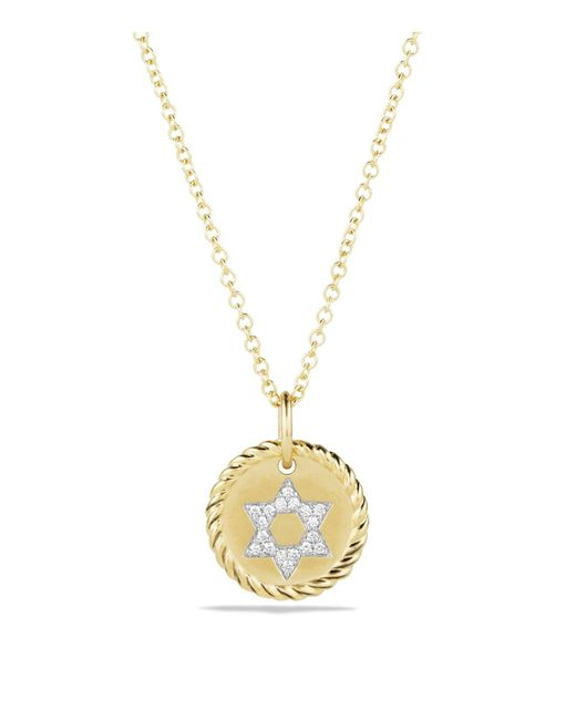 David Yurman | Metallic Cable Collectibles Star Of David Necklace With Diamonds In 18k Gold | Lyst