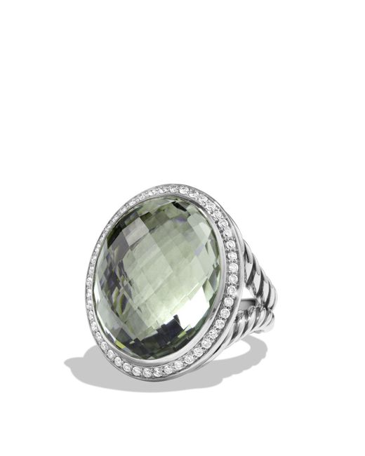 David Yurman | Green Oval Ring With Prasiolite And Diamonds | Lyst
