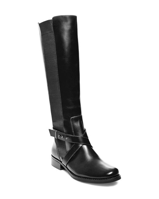 Steven by Steve Madden | Black Sydnee- Wide Calf Leather Boots | Lyst