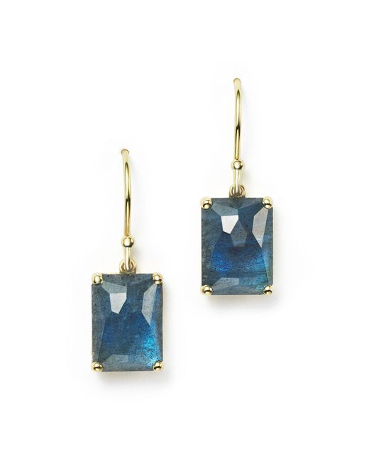 Ippolita | 18k Gold Rock Candy® Rectangle Drop Earrings In London Blue Topaz And Labradorite Doublet | Lyst