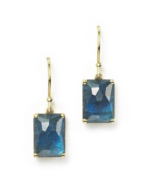 Ippolita | 18k Gold Rock Candy Rectangle Drop Earrings In London Blue Topaz And Labradorite Doublet | Lyst