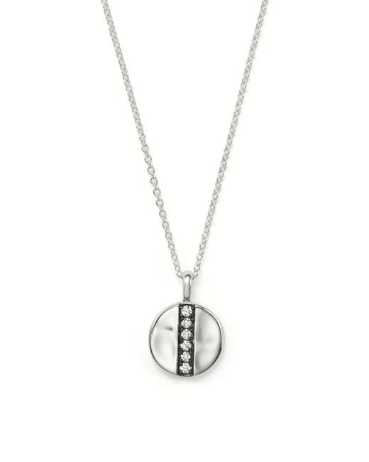 Ippolita | Metallic Sterling Silver Glamazon Stardust Mini Station Disc Pendant Necklace With Diamonds, 16"