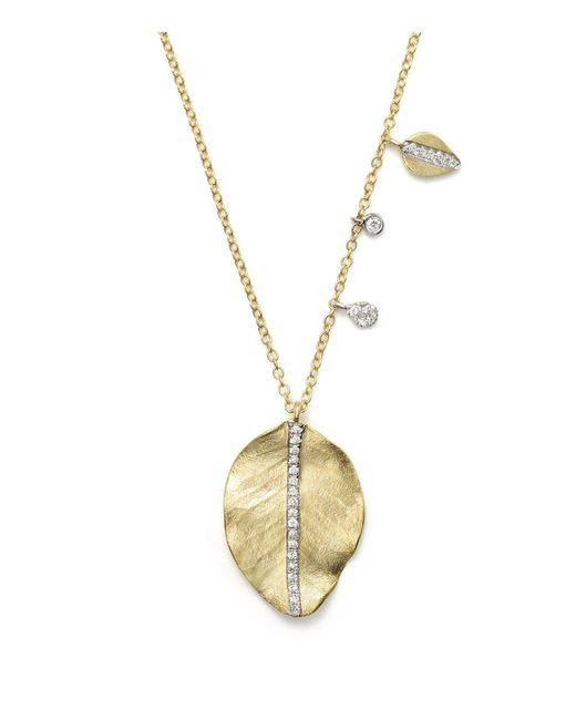Meira T | Metallic 14k Yellow Gold Leaf Charm Necklace, 16"