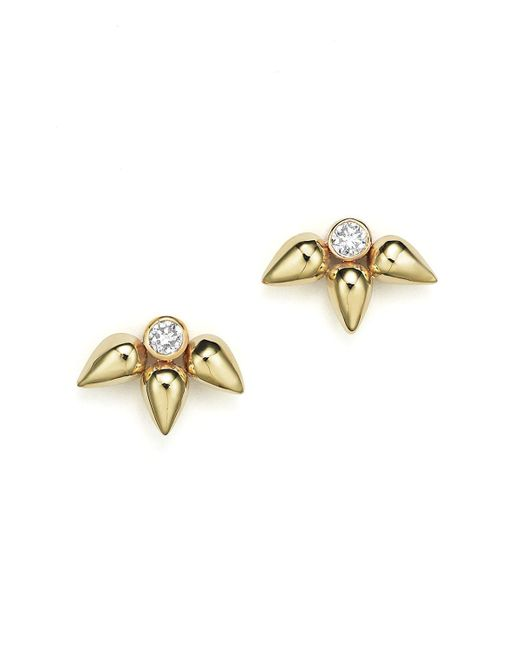 Zoe Chicco   Metallic 14k Gold Tiny Bullet Cluster Stud Earrings With Diamonds   Lyst