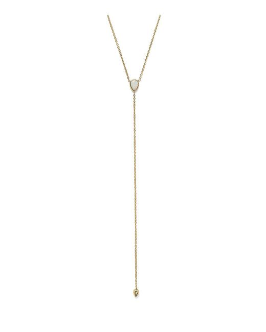 Zoe Chicco | Metallic 14k Gold Bezel Set Opal Y Necklace, 18"