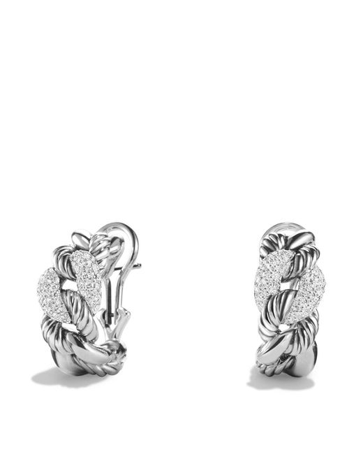 David Yurman | Metallic Belmont Earrings With Diamonds | Lyst