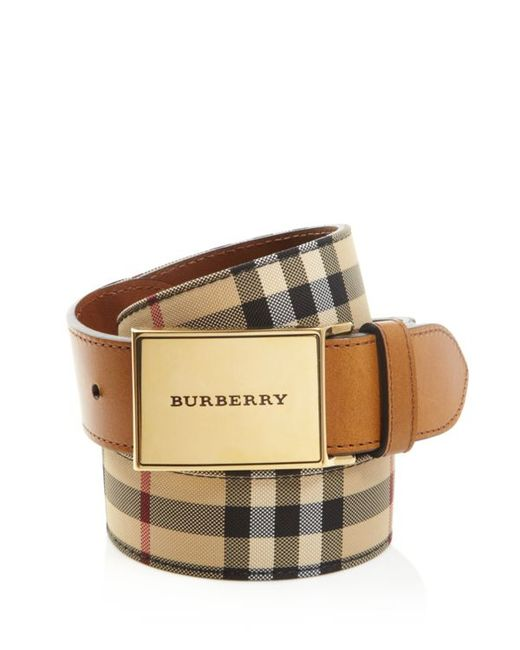 Burberry Charles Horseferry Check Belt In Multicolor Tan