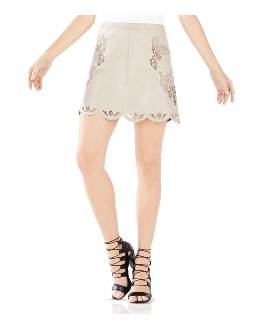 BCBGMAXAZRIA | Natural Jenhifer Embroidered Faux-leather Miniskirt | Lyst