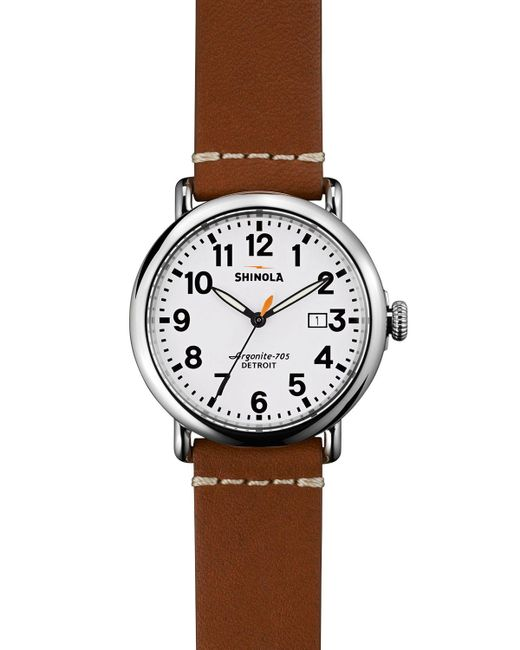 Shinola | Brown Runwell Watch, 41mm for Men | Lyst