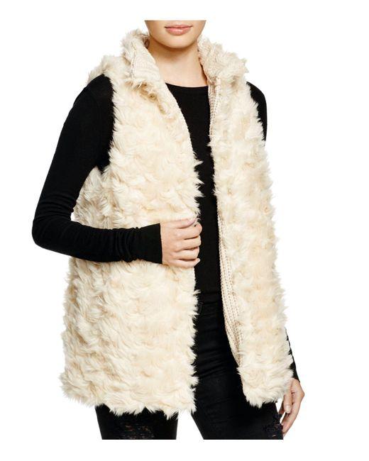 Aqua   Natural Reversible Faux Fur Vest   Lyst