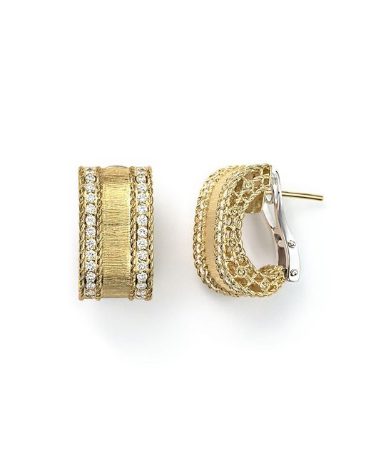 Roberto Coin | Metallic 18k Yellow Gold Diamond Satin Princess Earrings | Lyst