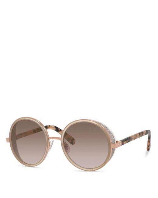 Jimmy Choo | Metallic Andie Round Sunglasses, 53mm | Lyst