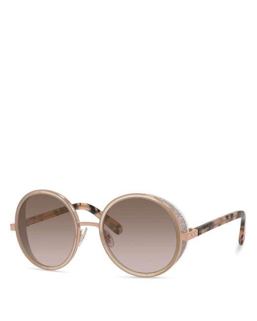 Jimmy Choo | Metallic Andie Round Sunglasses, 53mm | Lyst