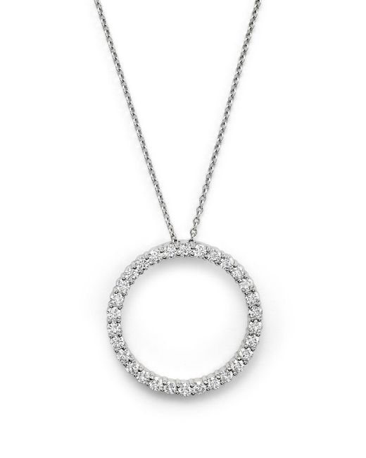 Roberto Coin   Metallic 18K White Large Diamond Circle Pendant Necklace   Lyst