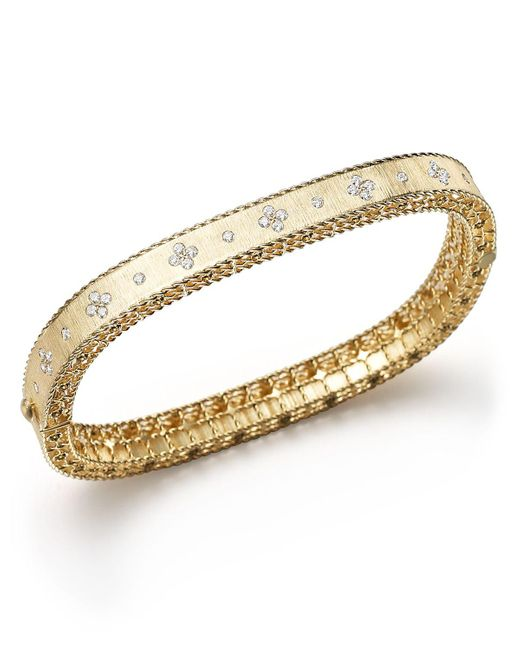 Roberto Coin | Metallic 18k Yellow Gold And Diamond Princess Bangle | Lyst