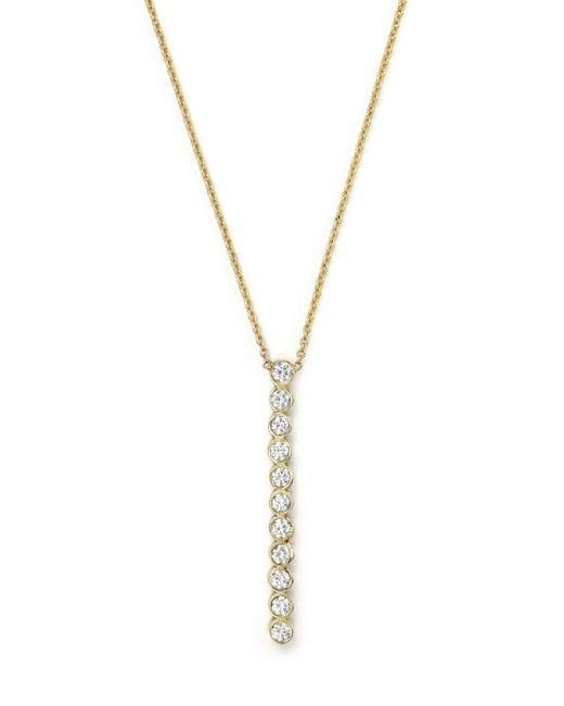 Zoe Chicco | Metallic 14k Yellow Gold Bezel-set Vertical Bar Necklace With Diamonds, 18"