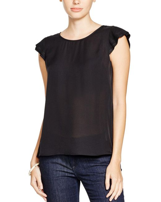 Joie | Black Nesrin Pleated Sleeve Silk Top | Lyst