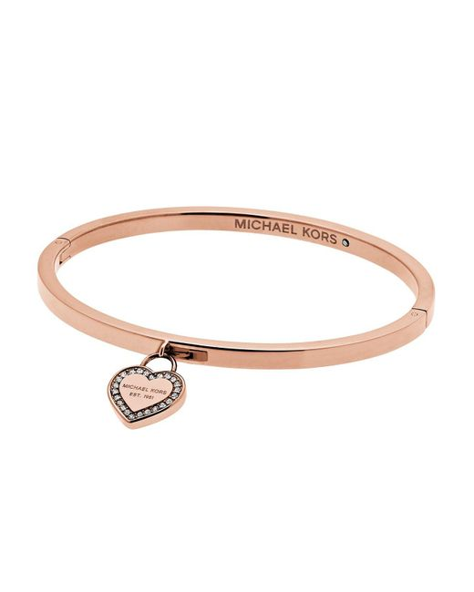 Michael Kors | Metallic Hinge Bangle With Heart Charm | Lyst