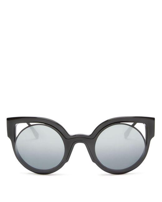 Fendi | Black Floating Round Cat Eye Sunglasses, 49mm | Lyst