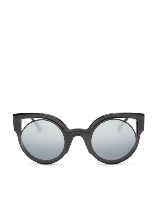 Fendi | Black Floating Round Cat Eye Sunglasses, 49mm | Lyst