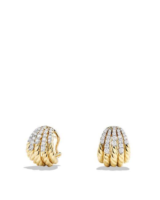 David Yurman | Metallic Tempo Earrings With Diamonds In 18k Gold | Lyst