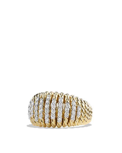 David Yurman | Metallic Tempo Ring With Diamonds In 18k Gold | Lyst