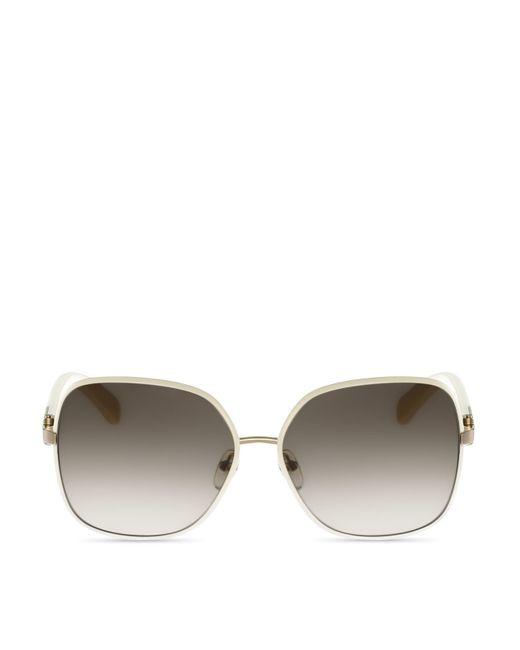 Ferragamo | Metallic Oversized Square Sunglasses | Lyst