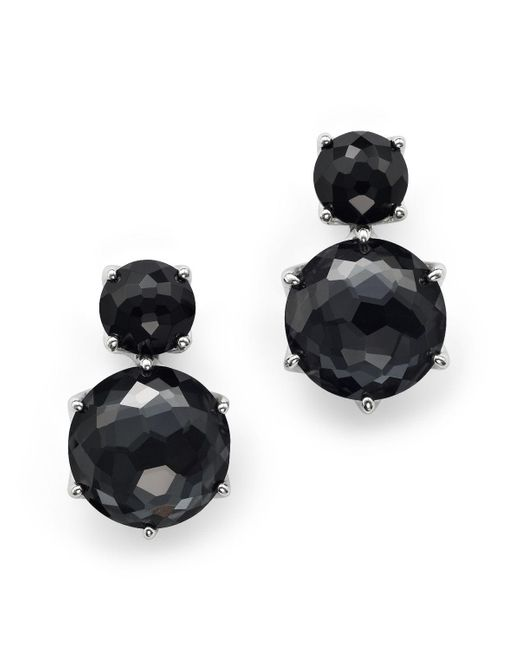 Ippolita   Metallic Sterling Silver Rock Candy 2 Stone Post Earrings In Black Onyx And Hematite   Lyst