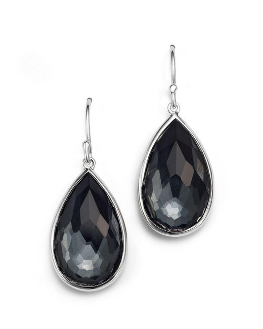 Ippolita | Gray Sterling Silver Rock Candy Medium Pear Wire Earrings In Clear Quartz And Hematite | Lyst
