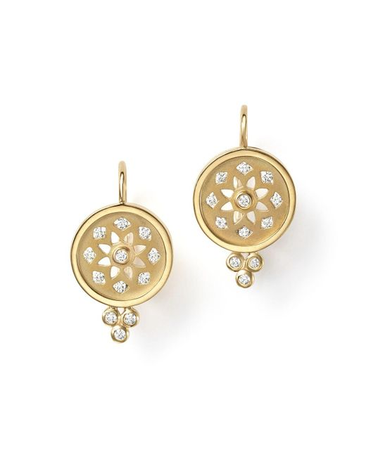 Temple St. Clair | Metallic 18k Gold Mandala Cutout Earrings With Diamonds | Lyst