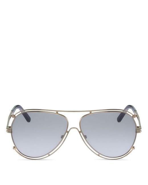 Chloé | Metallic Isidora Aviator Sunglasses, 61mm | Lyst