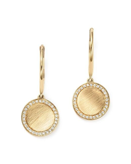 KC Designs | Metallic Diamond Disc Drop Earrings In 14k Yellow Gold - 100% Exclusive | Lyst