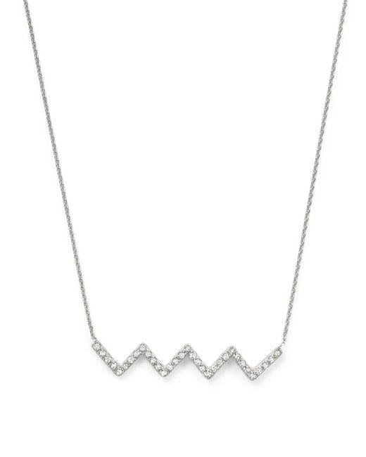 "KC Designs   Metallic Diamond Chevron Pendant Necklace In 14k White Gold, 16""   Lyst"