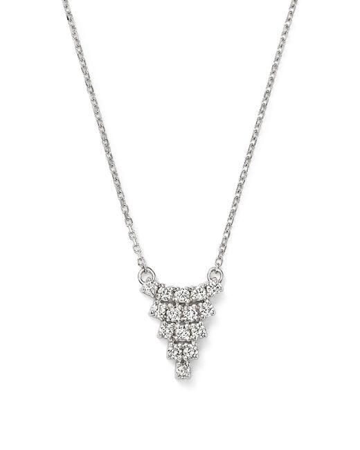 "KC Designs   Metallic Diamond Triangle Pendant Necklace In 14k White Gold, 16""   Lyst"