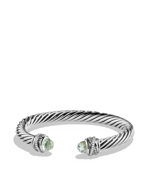 David Yurman | Gray Crossover Bracelet With Diamonds And Prasiolite In Silver | Lyst