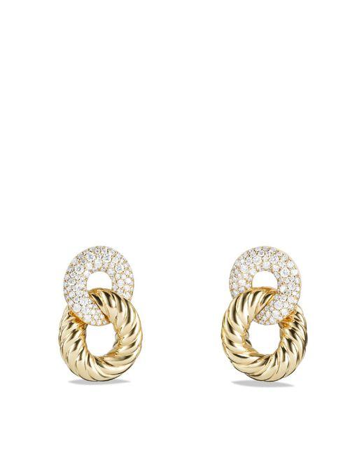 David Yurman | Metallic Belmont Curb Link Ring Drop Earrings With Diamonds In 18k Gold | Lyst