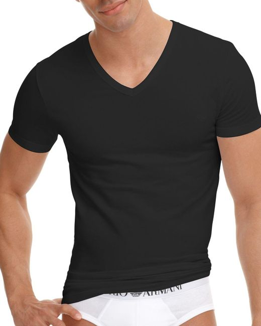 Emporio Armani   Black Stretch Cotton V-neck T-shirt for Men   Lyst