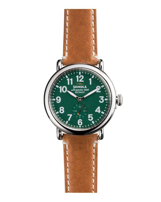 Shinola | Green The Runwell 41mm Stainless Steel And Leather Watch for Men | Lyst