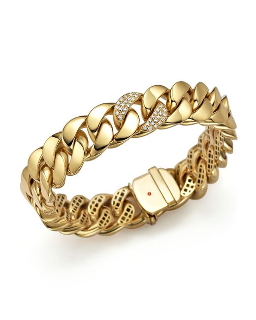 Roberto Coin | Metallic 18k Yellow Gold Link Bracelet With Diamonds | Lyst
