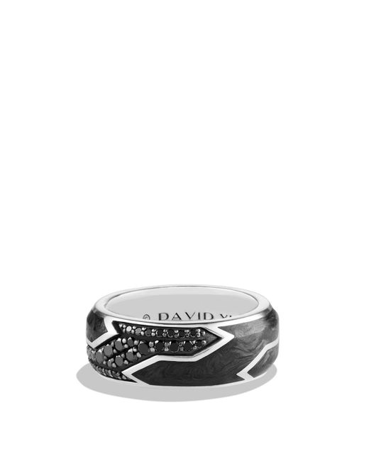 David Yurman | Forged Carbon Ring With Black Diamonds In Silver | Lyst
