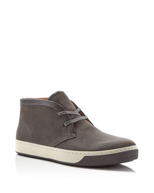 Vince Abe Perforated Suede Chukka Boots In Gray For Men