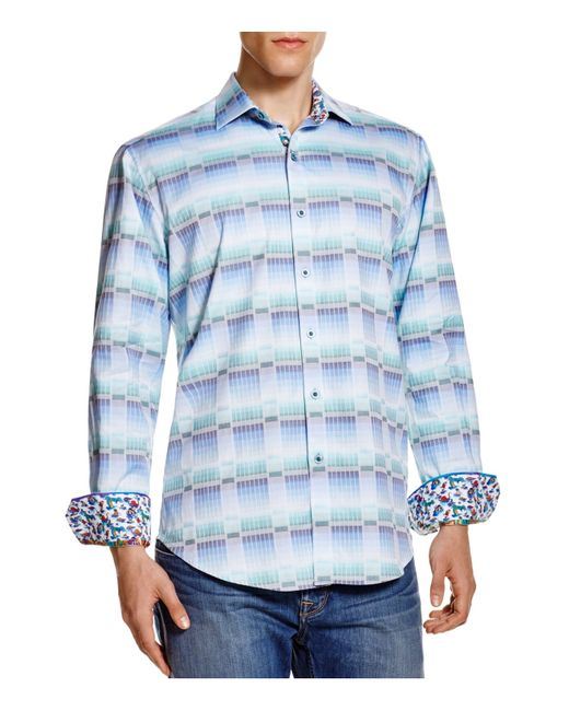Robert graham watson lake classic fit button down shirt in for Mens teal button down shirt